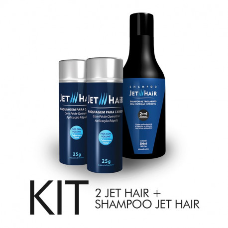 KIT Jet Hair com 02 Frascos de 25G + Brinde Spray Fixador