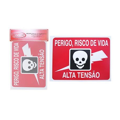 Placa Indicativa Perigo Risco de Vida Alta Tensão 15 x 20 CM