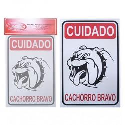 Placa Indicativa Cuidado Cachorro Bravo 20 x 30 CM
