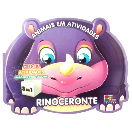 Livro para Colorir: Animais em Atividades - Rinoceronte