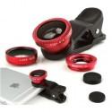 Kit de Lentes Panorâmicas Universal para Celular 3 em 1 (Olho de Peixe, Macro e Wide) - Vermelho