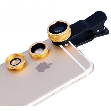 Kit de Lentes Panorâmicas Universal para Celular 3 em 1 (Olho de Peixe, Macro e Wide) - Dourado