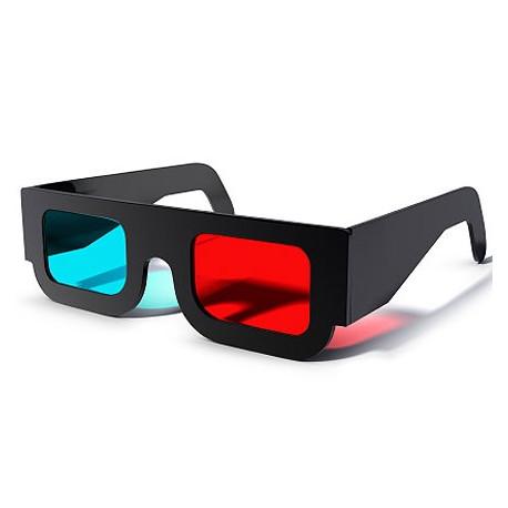 Óculos 3D de Papel Anaglifo Red Cyan - Preto