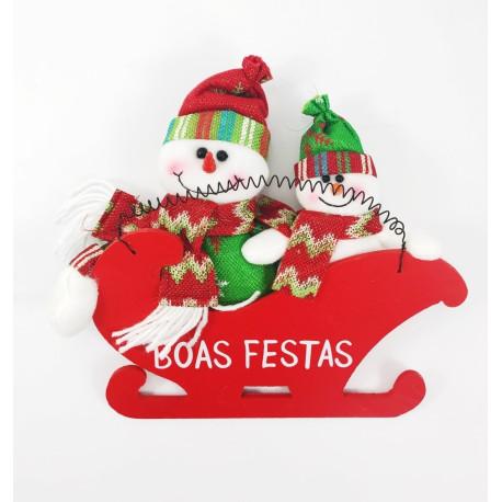 Enfeite para Pendurar Treno Madeira Boas Festas/Boneco de Neve - 16 x 15 cm