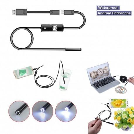 Mini Câmera de Inspeção de Borracha Endoscópio USB para Android e Windows