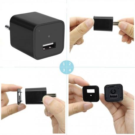Carregador Espião Universal USB Câmera HD 1080P - 08 GB