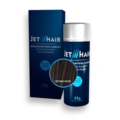 Jet Hair Maquiagem Para Cabelos - Cor Castanho Escuro - Frasco Grande de 25G